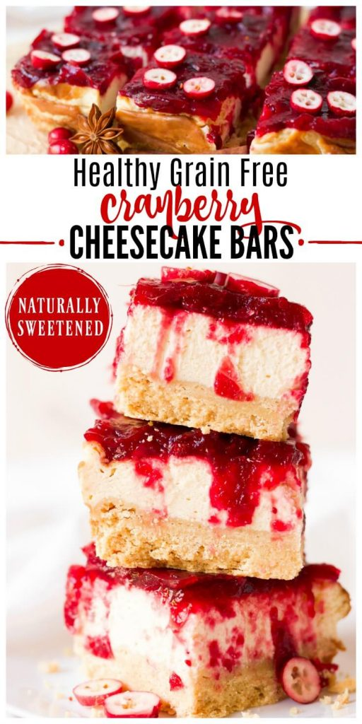 Slices of cranberry cheesecake bars.