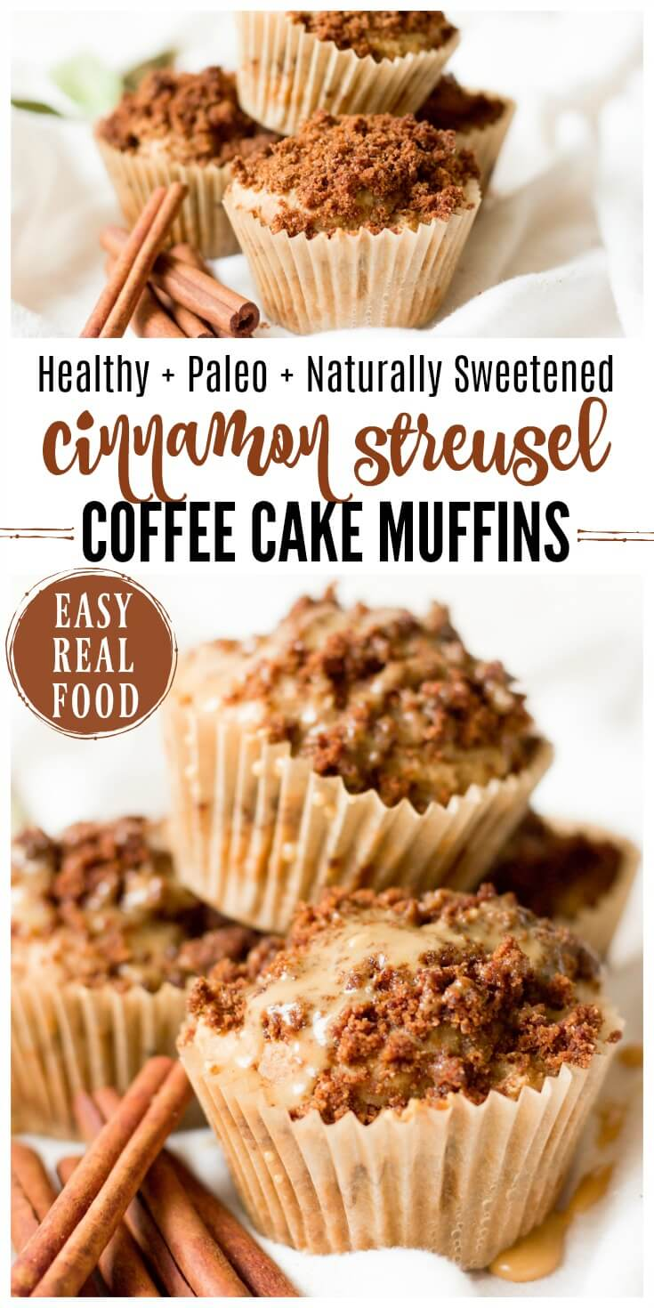 Healthy Cinnamon Streusel Coffee Cake Muffins are fun for weekend breakfasts and make a lovely addition to a holiday brunch. These real food muffins are Paleo friendly and naturally sweetened with a delectable crumbly streusel topping and a sweet maple glaze. | Recipes to Nourish | Paleo Muffins | Healthy muffins | Paleo breakfast | easy real food recipe | easy muffin recipe | Paleo baked goods | #palebreakfast #realfood #healthybreakfast