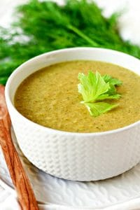 Broccoli soup with fresh dill.