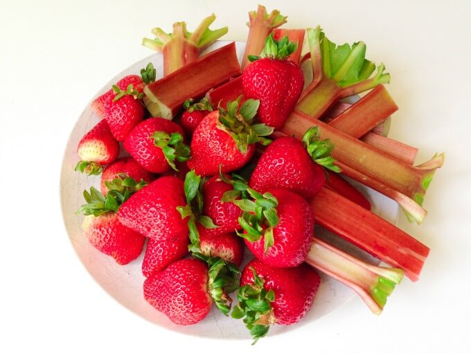 Fresh strawberries and rhubarb.