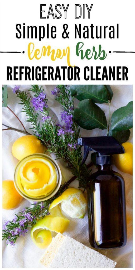 Fresh lemons, lemon peels in a mason jar, fresh herbs, amber glass spray bottle and kitchen dish sponges.