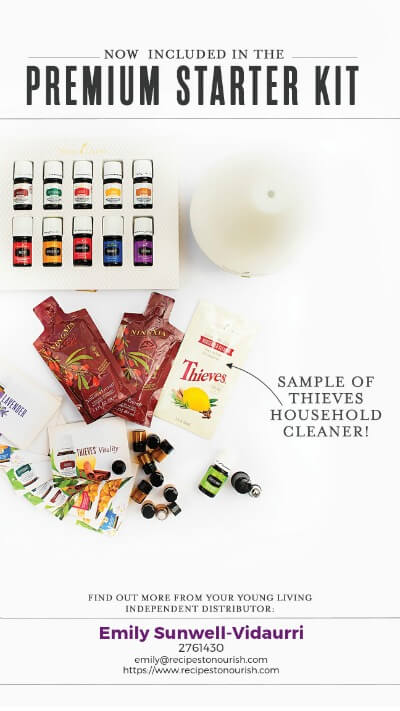 Young Living premium starter kit with Thieves household cleaner sample