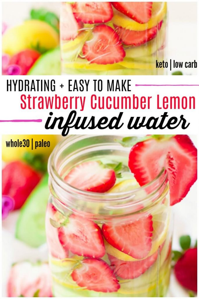 Mason jars filled with fresh strawberries, lemon slices, cucumber slices and water.