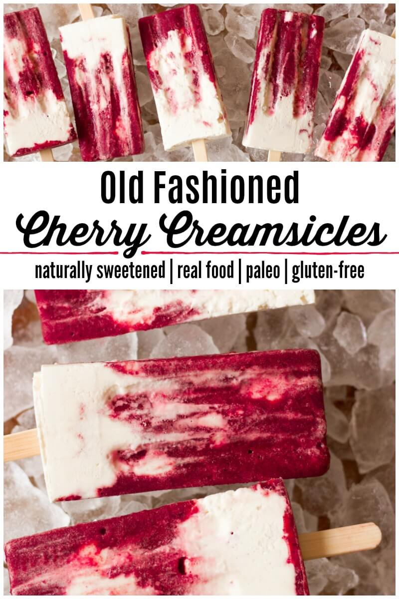 Old Fashioned Cherry Creamsicles! Creamy vanilla goodness paired with sweet, fruity, icy, cherry deliciousness in popsicle form, what's not to like? Thesedelicious popsicles are the perfect Creamsicle® Copycat! | Recipes to Nourish | Healthy Popsicle Recipes | Paleo Popsicles | Real Food Popsicles | Popsicle Recipes | Homemade Popsicles | Copycat Creamsicles | Dairy-Free Popsicles | Naturally Sweetened Treats | real food dessert || #popsicles #creamsicles #realfood #paleo #summertreats