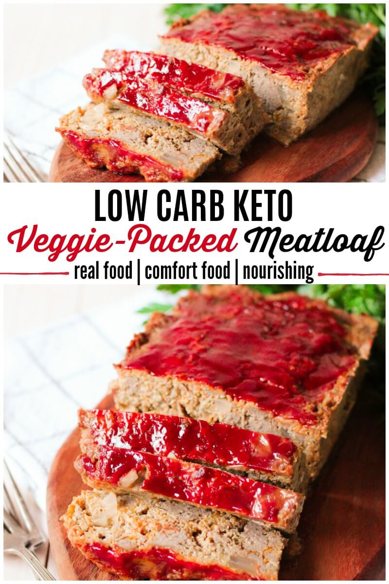 This homestyle, classic, REAL FOOD, Low Carb Keto Veggie-Packed Meatloaf is absolutely delicious, succulent and total comfort food. It's jam-packed with vegetables, healthy fats and absolutely no flour. | Recipes to Nourish | Healthy dinner recipes | easy dinner recipes | low carb dinner | ketogenic dinner | grain-free dinner | real food recipes || #easydinner #realfood #meatloaf #lowcarb #keto