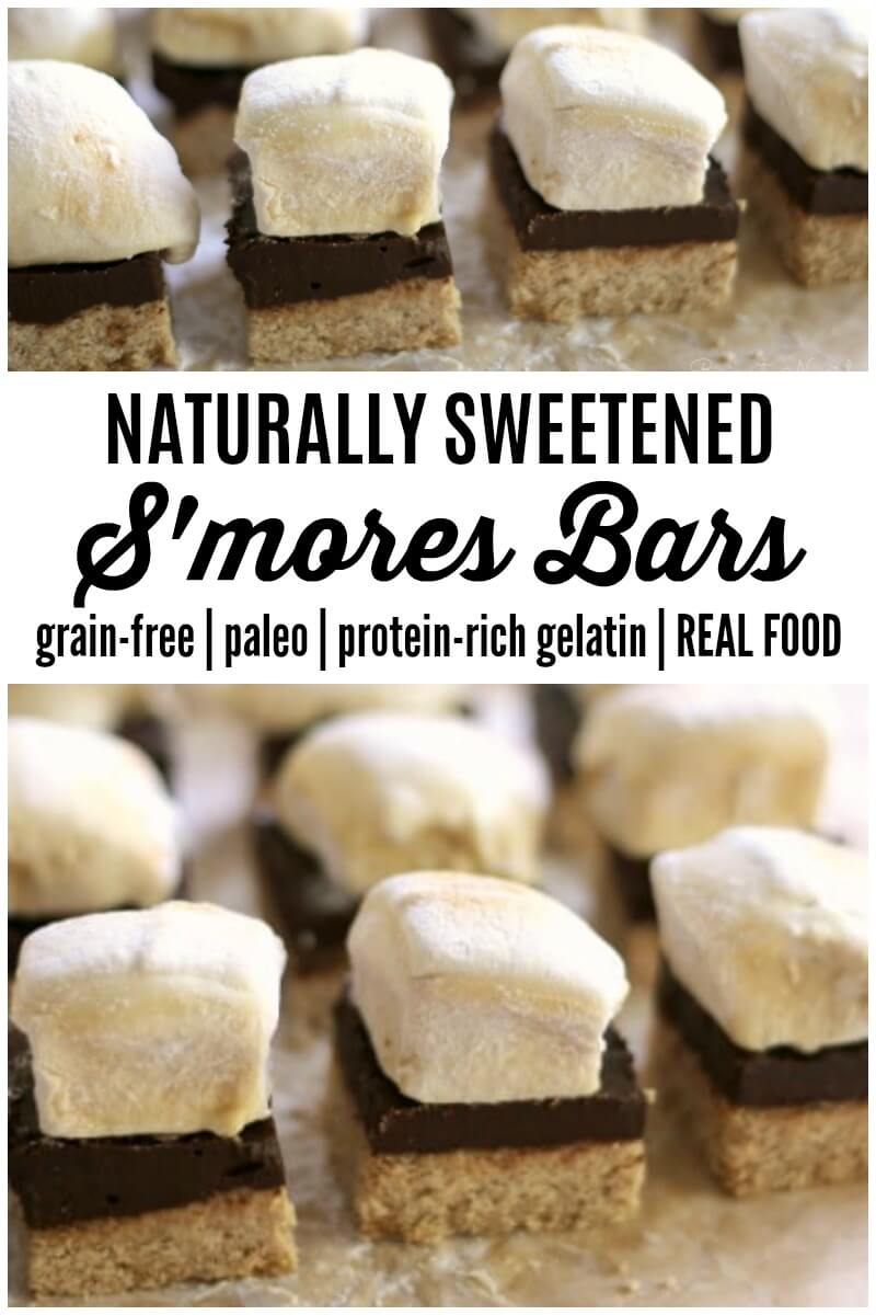 (Ad) Naturally Sweetened Real Food S'mores Bars are a delicious summertime must! Honey sweetened real food marshmallows are layered on top of delicious chocolate ganache and a grain free honey cinnamon