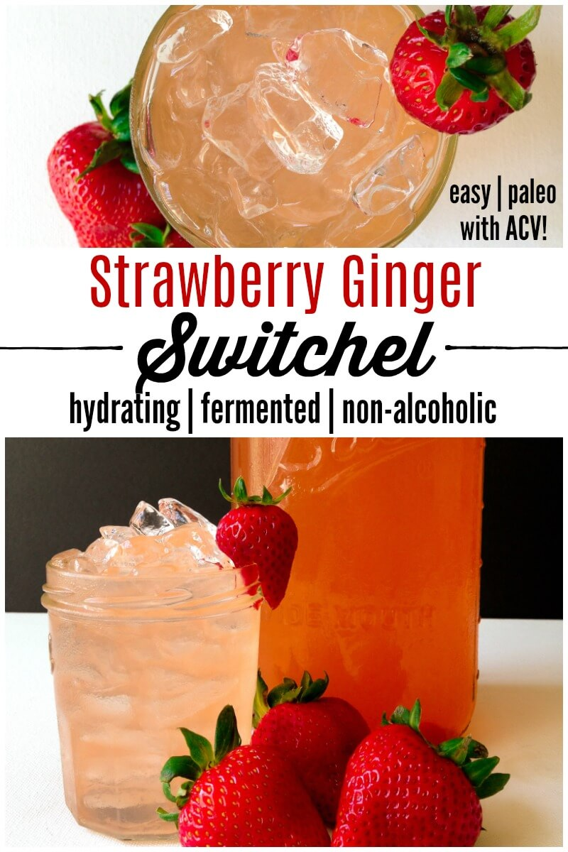 Strawberry Ginger Switchel is a delicious, refreshing, easy-to-make fermented beverage. | Recipes to Nourish | Healthy beverages | Healthy drinks | Fermented drinks | Fermented beverages | Easy beverages | Non-alcoholic beverage | Summer beverages || #healthybeverages #fermentedbeverages #strawberries