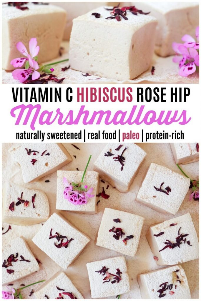 Lots of thick homemade marshmallows with hibiscus blossoms.