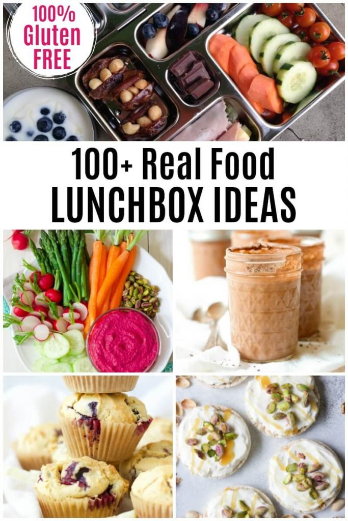 Lunchbox with vegetables, fresh fruit, yogurt, stuffed dates and meat wraps, jars of chocolate pudding, stack of muffins, cream cheese topped rice cakes with pistachios and honey and a plate full of vegetables and beet dip.