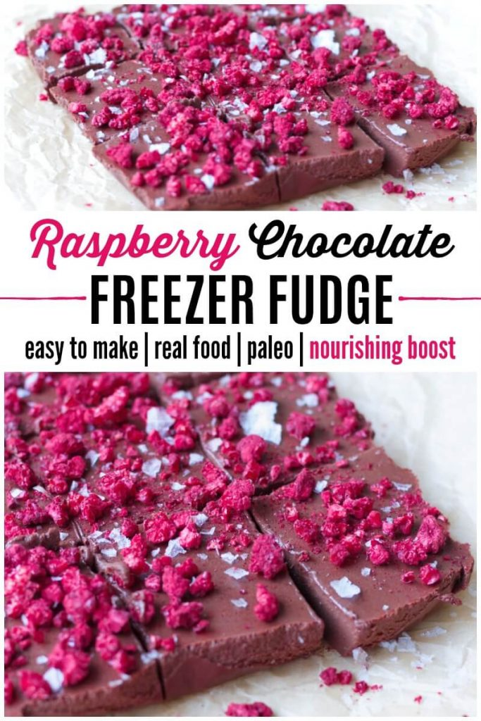 Large square of cut chocolate fudge topped with freeze dried raspberries.