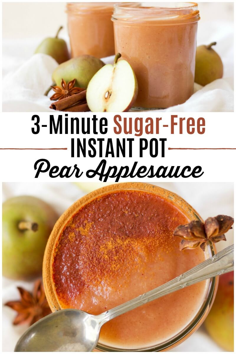 Skip the store-bought applesauce and enjoy this delicious, easy to make, 3 Minute Sugar Free Instant Pot Pear Applesauce. It's Paleo friendly, dairy free and can be flavored with chai spices or traditional sweet cinnamon. | Recipes to Nourish | Easy Instant Pot recipe | Real food recipes | Sugar-free applesauce | Healthy Instant pot recipes | Healthy snacks || #instantpot #healthysnacks #pears #applesauce #realfood #easyrecipe