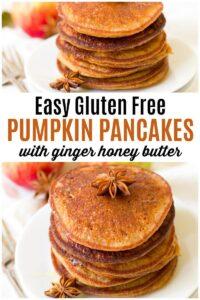 Stacked pumpkin pancakes.
