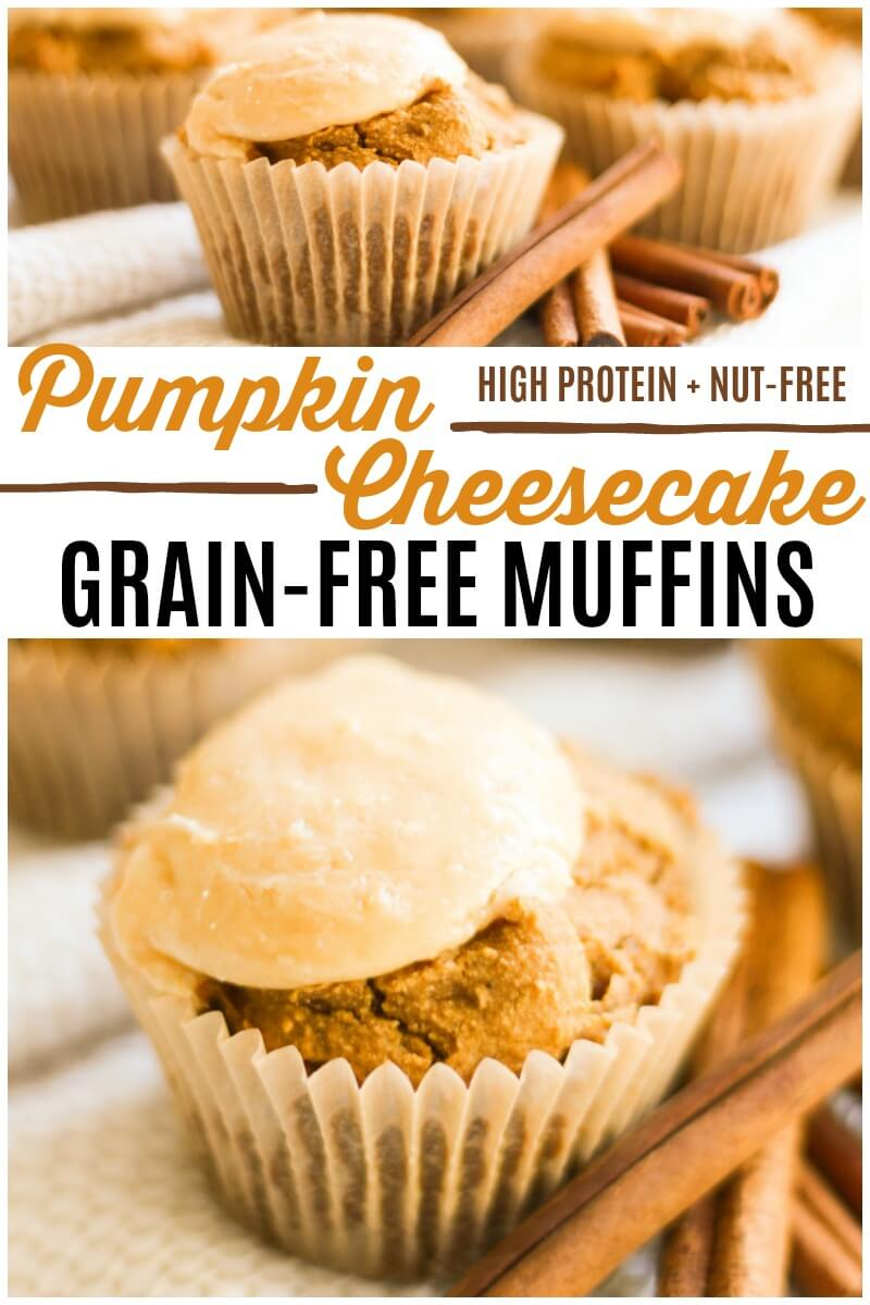 These high protein Grain Free Pumpkin Cheesecake Muffins with a maple cheesecake topping are so soft and delicious. They're easy to make, naturally sweetened, nut-free and perfectly spiced. | Recipes to Nourish | Pumpkin recipes | gluten-free recipes | grain-free recipes | gluten-free muffins | grain-free muffins | pumpkin muffins | pumpkin snacks | fall recipes | holiday recipes | naturally sweetened | fall breakfast | snacks | breakfast || #glutenfree #pumpkinmuffins #muffins #pumpkin #fallrecipes #realfood #grainfreemuffins #pumpkincheesecake #snacks #nutfree