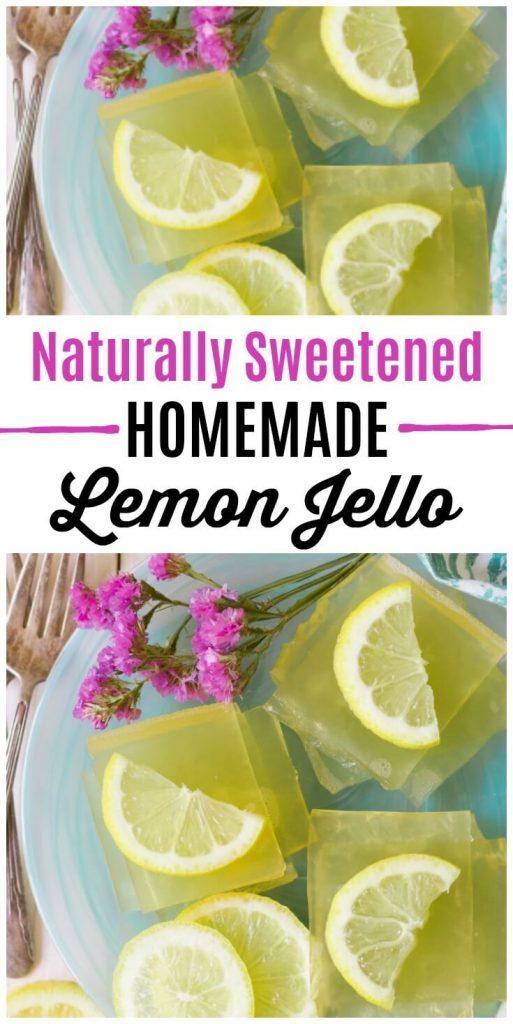 Square slices of homemade lemon jello with lemon slices.