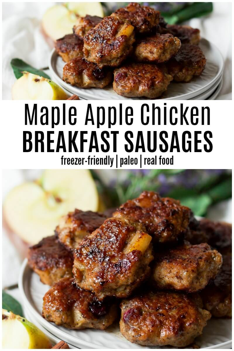 Homemade Paleo Maple Apple Chicken Breakfast Sausages are easy to make, so delicious, full of flavor and so much healthier than store-bought versions. They're freezer-friendly too! {Whole30®-Friendly | Primal | Real Food} | Recipes to Nourish | Whole30® breakfast | Healthy breakfast | gluten-free breakfast | Paleo breakfast | Grain-free breakfast | High protein breakfast | Breakfast sausages || #paleobreakfast #healthybreakfast #glutenfreebreakfast #breakfastsausages #realfood