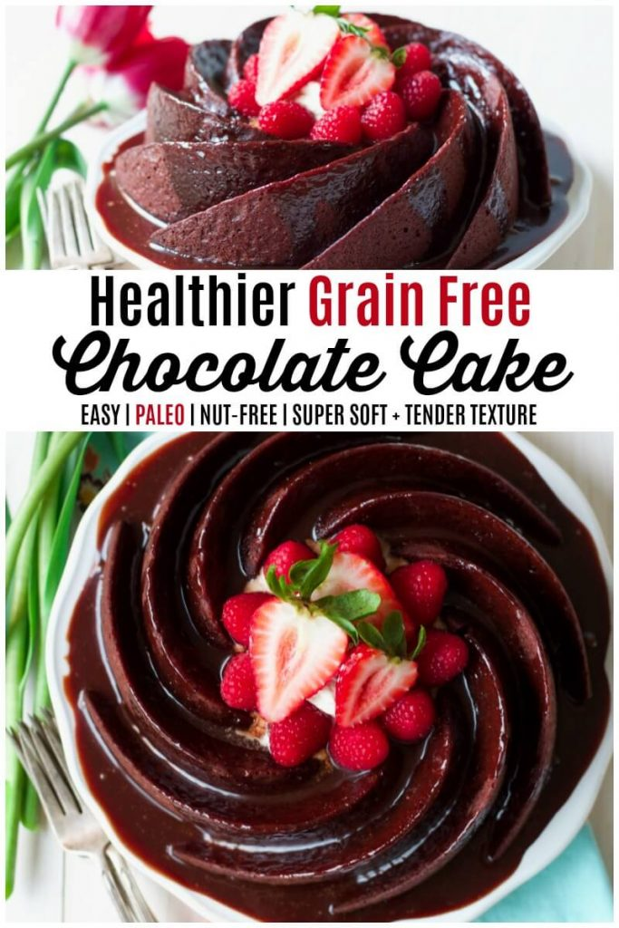 Chocolate cake shaped in a spiral bundt form, topped with chocolate glaze and fresh berries.