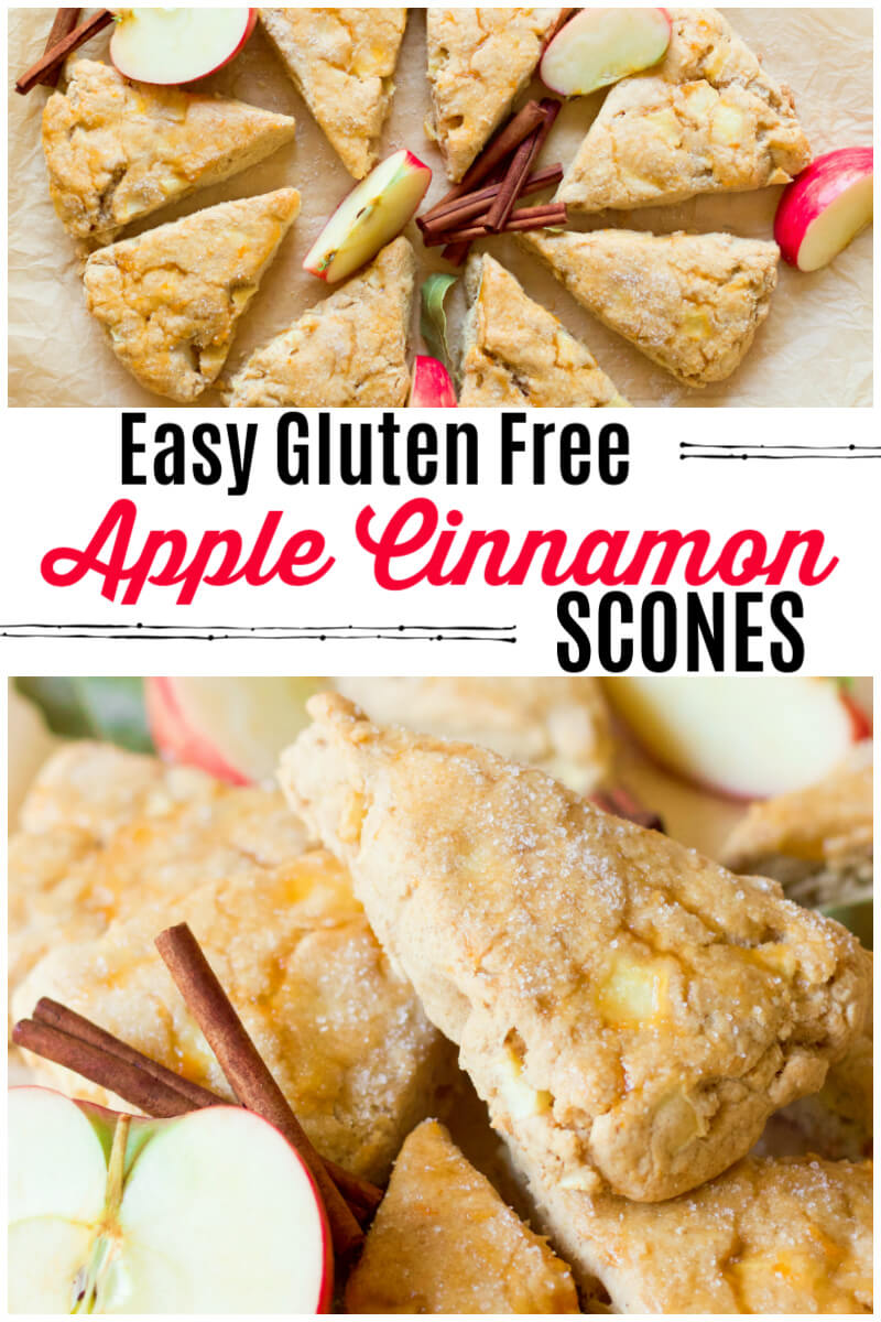 These Easy Gluten Free Apple Cinnamon Scones are a special breakfast treat! They're so easy to make, soft and tender and perfect for weekend brunches. | Recipes to Nourish | Healthy breakfast | Gluten-free breakfast | Gluten-free scones | Gluten-free recipe | Apple recipes | Easy gluten-free breakfast || #healthybreakfast #glutenfreebreakfast #glutenfreescones #glutenfree #realfood #healthyrecipes #easyrecipe