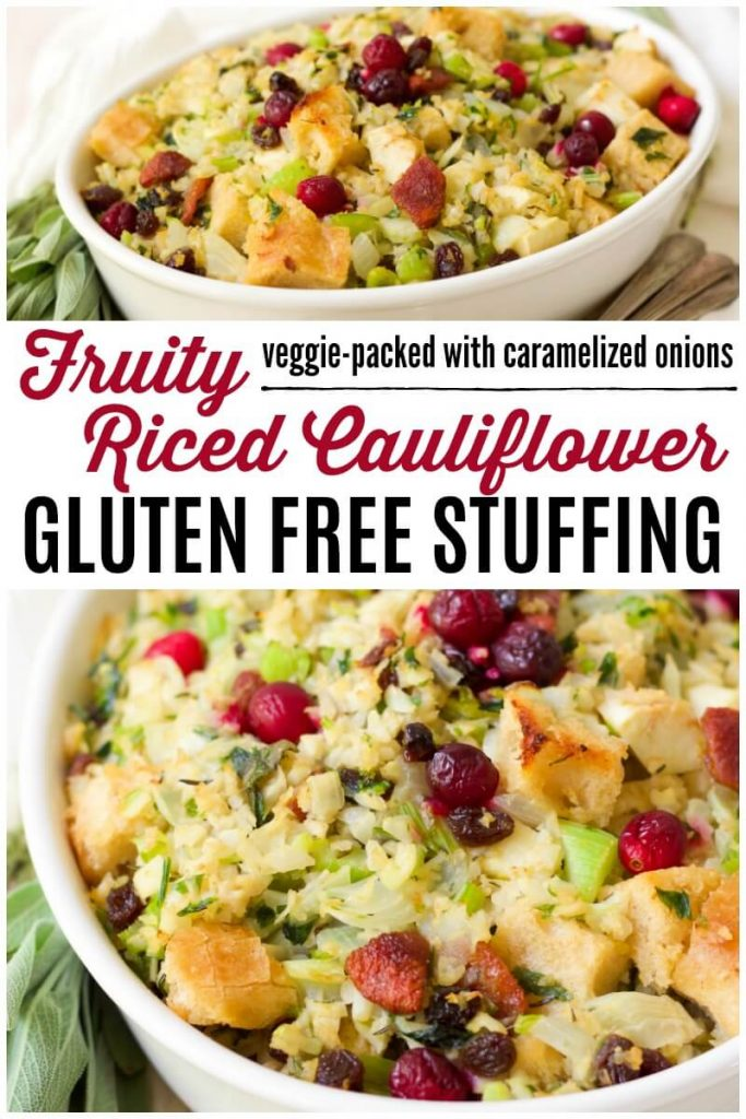 Stuffing with riced cauliflower, fruits, herbs and celery.