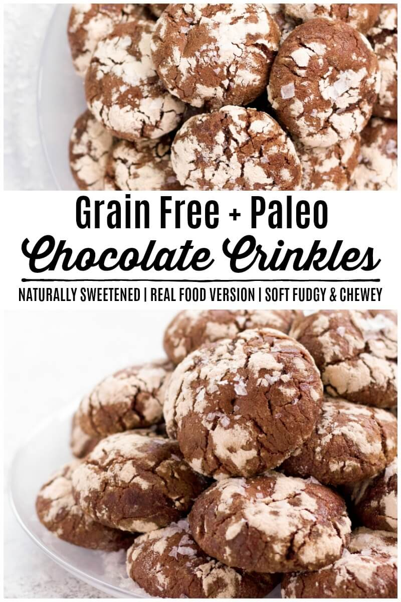Grain Free Chocolate Crinkles are soft, fudgy cookies with a beautiful crackly top. Delicious and sweet, this healthier real food, Paleo-friendly version is naturally sweetened and sure to please. | Recipes to Nourish | Gluten-free cookies | Grain-free cookies | Holiday cookie recipe | Gluten-free holiday cookies | Gluten-free chocolate crinkle cookies | Holiday dessert recipe | Paleo cookies || #glutenfreechocolatecrinkles #christmascookies