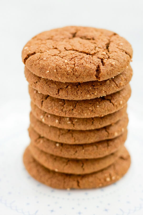 Stack of ginger molasses cookies.
