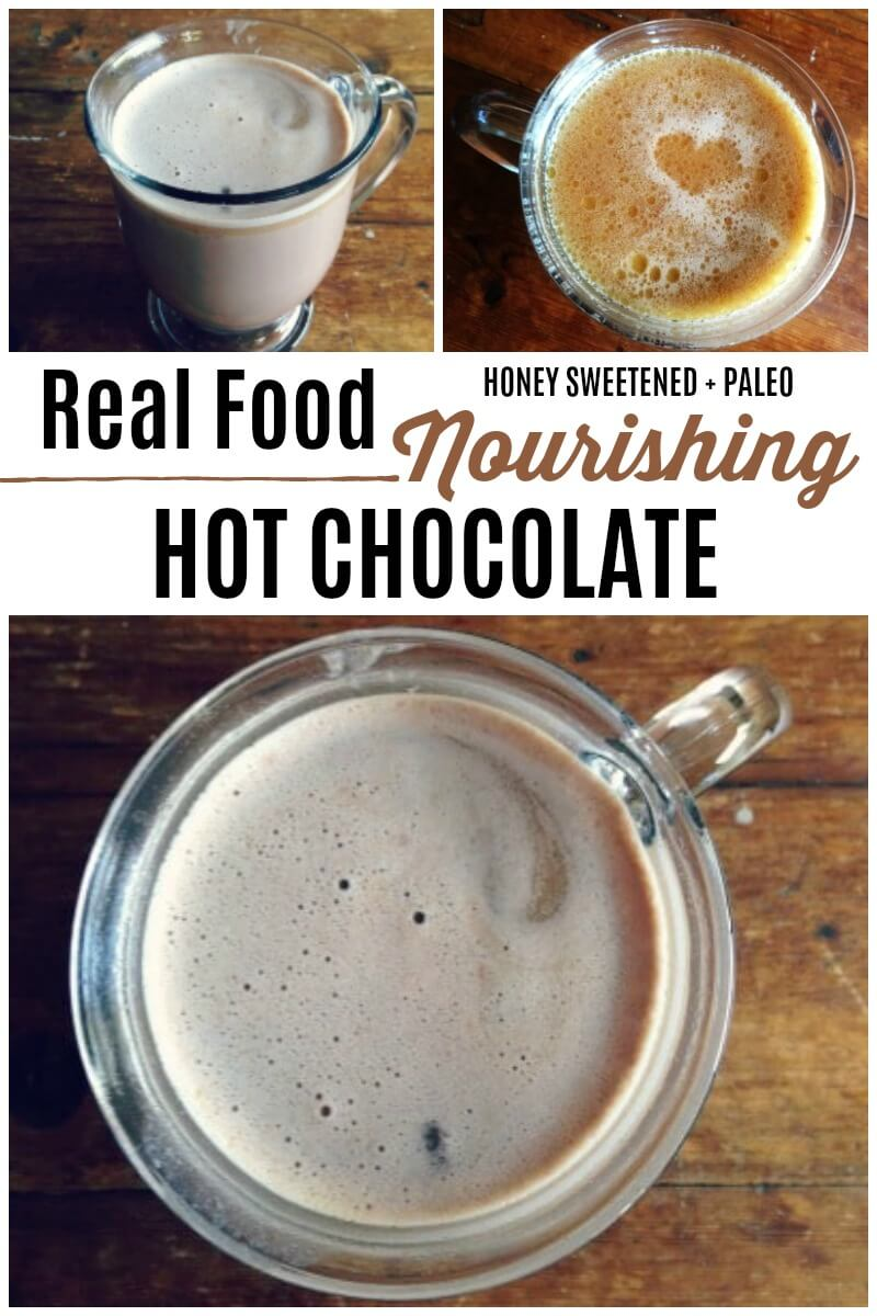 Nourishing Honey Sweetened Hot Chocolate is comforting like the old fashioned kind we all grew up with. This easy to make, real food version has lots of optional healthy add-ins. | Recipes to Nourish | Easy recipe | Real food recipes | Healthy recipe | Homemade hot chocolate | Healthy hot chocolate | Fall drinks | Fall beverages | Healthy holiday recipes | Healthy holiday drinks | Holiday beverages | Gluten-free recipes || #hotchocolate #hotdrinks #holidaydrinks #beverages #healthyrecipes
