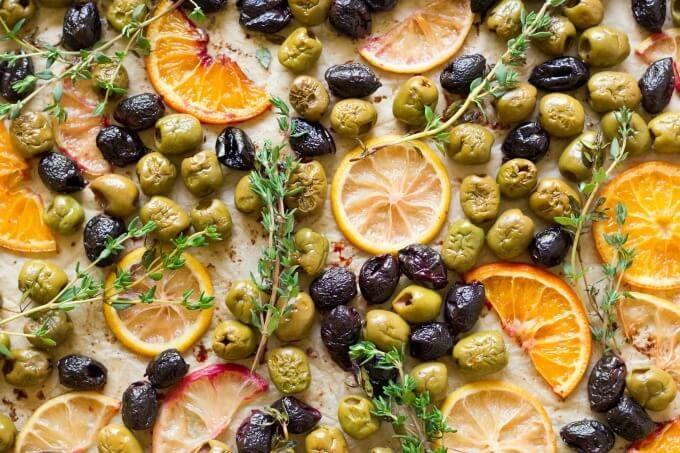 Roasted olives, oranges, lemons and herbs.