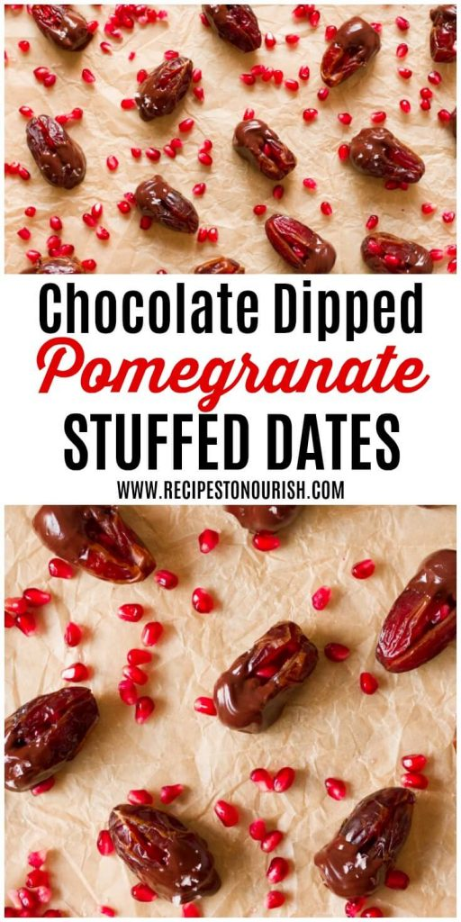 Chocolate dipped dates with pomegranate arils.
