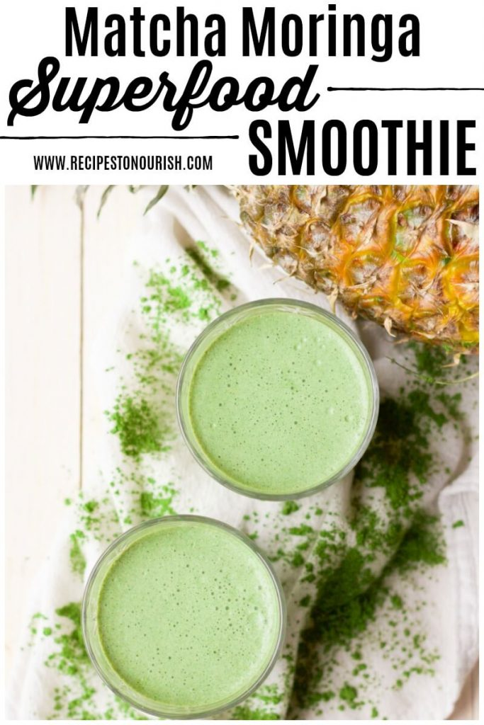 Green smoothies with matcha powder and pineapple.