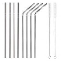 YIHONG Set of 8 Stainless Steel Metal Reusable Straws 8.5'' - 4 Straight + 4 Bent + 2 Brushes)