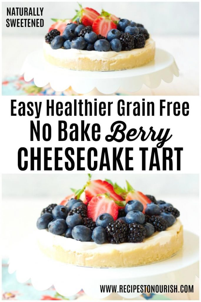 Cheesecake tart with fresh berries on top.