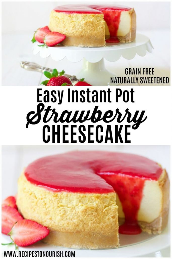 Cheesecake topped with strawberry sauce.