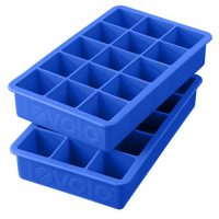 "Tovolo Perfect Cube Ice Mold Trays, Sturdy Silicone, Fade Resistant, 1.25"" Cubes, Set of 2, Capri Blue"