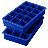 "Tovolo Perfect Cube Ice Mold Trays, Sturdy Silicone, Fade Resistant, 1.25"" Cubes, Set of 2, Stratus Blue"