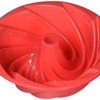 HOSL Red Large Spiral shape Bundt Cake Pan Bread Chocolate Bakeware Silicone Mold
