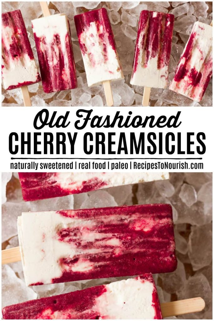 Red and white swirl cherry cream popsicles.